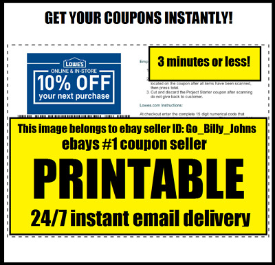 Five (5x) Lowes 10% Off Coupons - In Store or Online - Best Expiration - Fastest