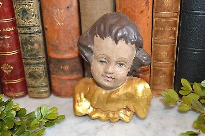 Antique German Cherub Angel Head with Wings Figure Painted and Gilded