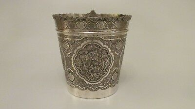 Magnificent 1950'S Persian Large 84 Silver Ice/ Champagne Bucket 33.8 Oz