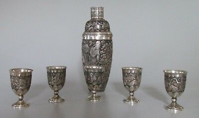 Antique Persian84 Silver Cocktail Shaker set W/cups Isfahan938 gram sanatipour