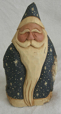 MacDonald Santa Blue Stars Hand Carved Painted 2009