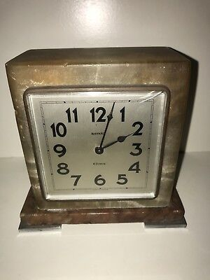 VERY STYLISH ORIGINAL 1930s FRENCH BAYARD ART DECO MARBLE MANTLE 8 DAY CLOCK