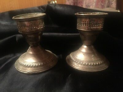Vintage Sterling Weighted Candle Stick Holders Mark N.S. Co NSCo National Silver