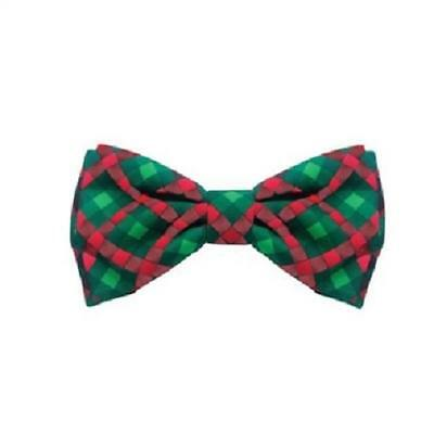 NEW Red Green Scottish Check Holiday Dog Bow Tie Collar Attachment Huxley & Kent