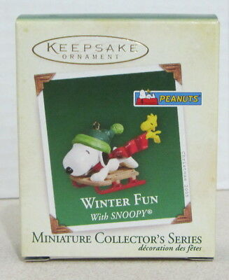 Hallmark 2005 - Winter Fun With Snoopy -  Miniature Ornament - #8 In Series
