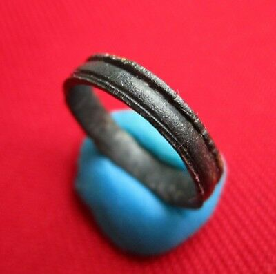 Fantastic ANCIENT CELTIC BRONZE WEDDING RING WITH 3 LINES . No 8