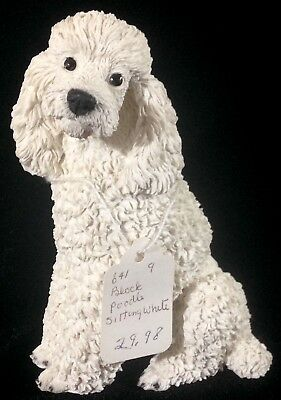 """NEW! Castagna White Poodle Dog Figurine 5.25"""" Tall Sitting Up Sculpture Statue"""