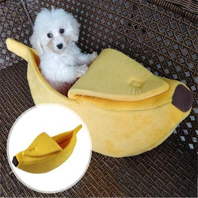 Pet Dog Cat Puppy Banana Shape Fluffy Sleeping Bed Sofa Kennel House Tent US