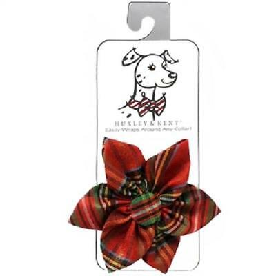 NEW Red Gold Lurex Plaid Pinwheel Holiday Dog Collar Attachment by Huxley & Kent