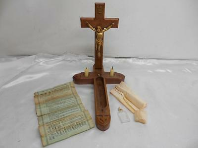 Antique Religious LAST RITES SET Divinity Sick Call Wood Crucifix Old COMPLETE