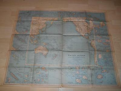 "Old Vtg 1936 PACIFIC OCEAN WALL MAP 39""x 31"" Hanging Decor"