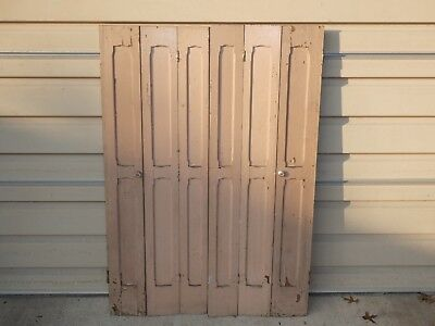 Antique Old Vintage Original Tri Fold Panel Interior Window Shutters Victorian