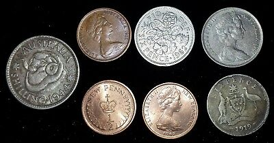 7 mixed lot Australia & New Zealand Coins dated 1919-1970's
