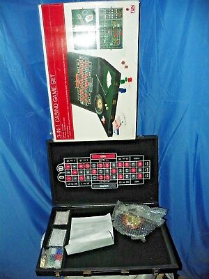 """""""3-In-1"""" CASINO GAME SET- BLACKJACK ROULETTE CRAPS ALL IN 22"""" CARRYING CASE NEW"""