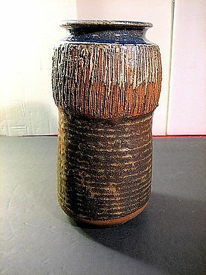 "11"" Pottery Studio Stoneware Vertical Ribbed Earthtone Glaze Shaffstall 1965"