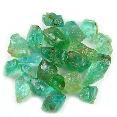 44.67 Ct.20 Pcs. Neon Blue Green Apatite Gemstone Rough Unheated Free Shipping!!