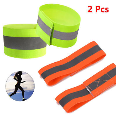 2PCS Reflective Arm Band Bracelet Strap Outdoor Sports Night Running Cycling Hot