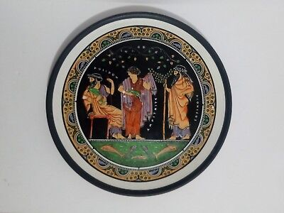 Vintage Rare Ancient Greek Gods Art Pottery Clay Terracotta Painted Plate