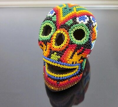 Huichol Beaded Skull Art Day of the Dead Signed Mexican Folk Art Clay Niuweme