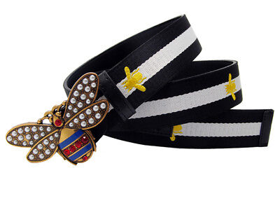 Western Contrast Color Canvas Bee Embroidery Rhinestone Bee Women Leather Belt