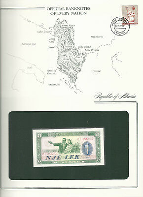 Banknotes of Every Nation Albania 1976 P40a One Lek UNC Prefix DT