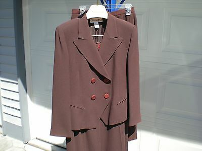 CHRISTIAN DIOR 3 Piece BROWN-Jacket/Skirt/Pants Suit- Acetate/Poly - Size 12