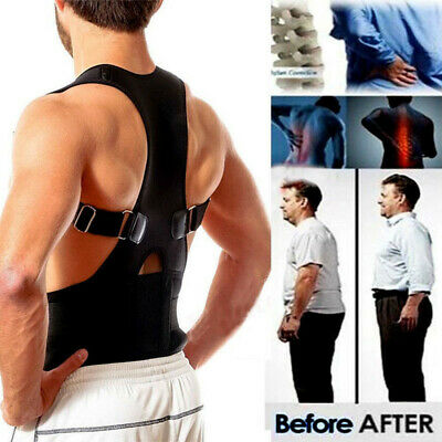 Adult Posture Corrector Support Magnetic Back Shoulder Brace Belt Adjustable New