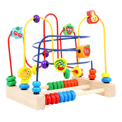 Three-wire Fruit Wooden Puzzle Bead Maze Educational Toy for Kids Christmas gift