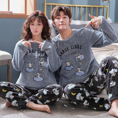 Couple Unisex Sleepwear Warm Winter Fleece Top+Pants Suit Nightwear Pyjamas Set