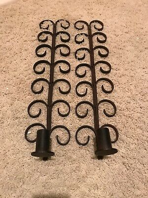 Vtg Mid Century Wrought Iron Tall Candle Sconce Pair