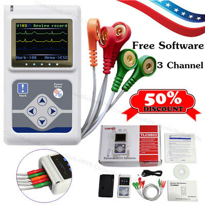 24 horas 3 canales ECG Holter EKG 12 cables Software USB ECG Holter Monitor
