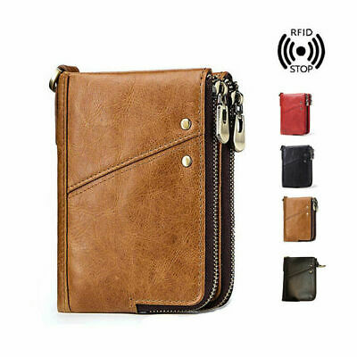 Mens RFID Small Wallet Genuine Leather Zip Around Purse Credit Card Coins Holder