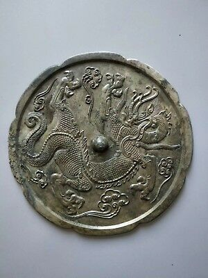 China Ancient TangKingdom Old Bronze Mirror Beautiful Dragon Statue Pattern 2