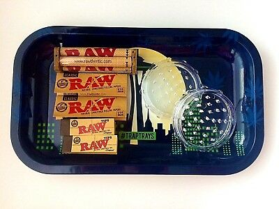 Rrolling Tray Bundle - Raw Tobacco Rolling Papers, Herb Grinder, Cigarette Tray
