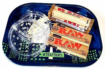 ROLLING TRAY BUNDLE - RAW CLASSIC PAPERS, RAW 79mm ROLLER, TRAY, HERB GRINDER