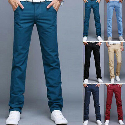 New Mens Straight Leg Cotton Pants All Waist Legs Solid Color Long Work Trousers