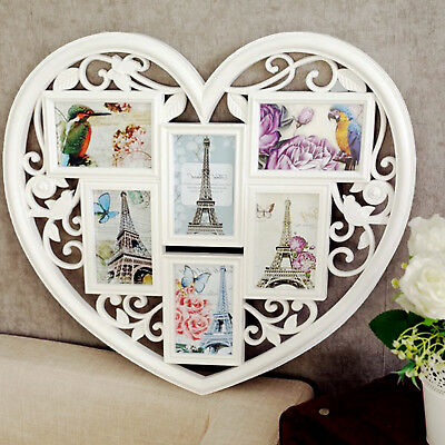 Uk Large Photo Frame White Hanging Heart Shaped Multi Picture Love
