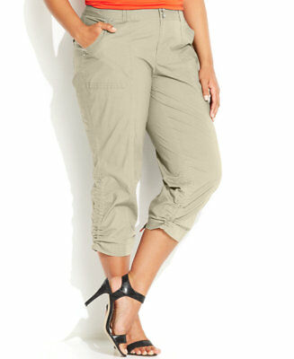 6f90e052cd3 Inc International Concepts Plus Size Ruched Cargo Pants Womens 16W Toad  Beige