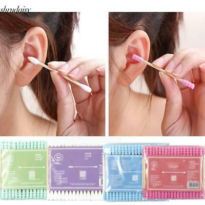 Wood Double Head Cotton Swab Ears Clean Makeup Soft Cotton Buds S5DY