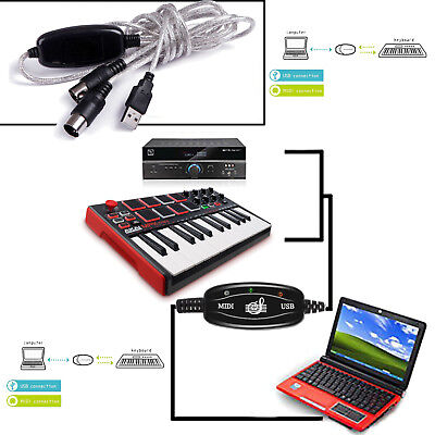 New MIDI To USB Cable Interface Converter PC IN Music Keyboard OUT Adapter Cords