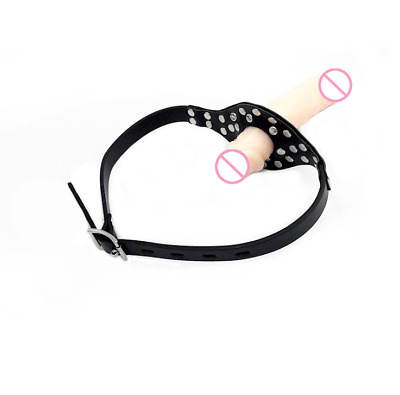 Bondage Double Ended Gag Open Mouth Flesh Plug PU Leather Harness Head Strap On