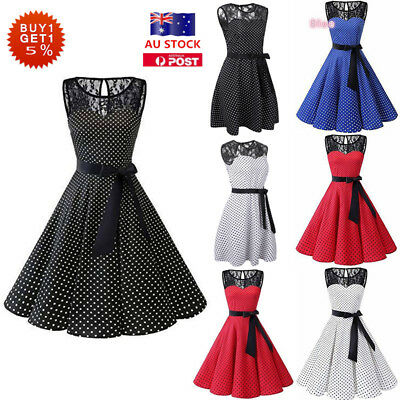 Women Vintage Hepburn 50s Rockabilly Swing Dress Cocktail Evening Party Dress