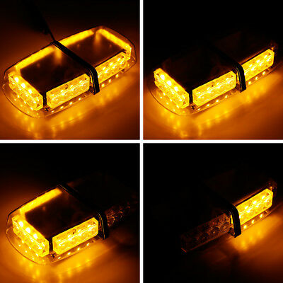 24W Roof Amber Car Vehicle Strobe Light Emergency Flashing Bar Magnetic Beacon