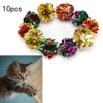 10x mylar crinkle balls interactive sound ball cat toys funny#1
