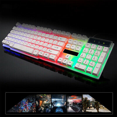 PC Wired Backlit USB Ergonomic Gaming Mechanical Keyboard Computer + key light