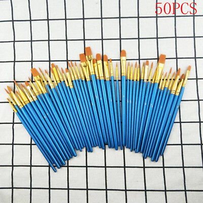 Set 50Pcs Wooden Paint Brushes For Artists Watercolor Acrylic & Oil Painting New