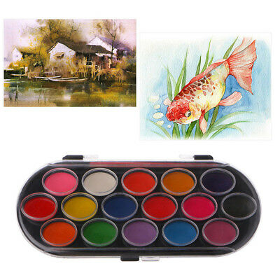 16 Colors Watercolor Palette Brush Set Painting Tray Drawing Art Mini Kid Gift~