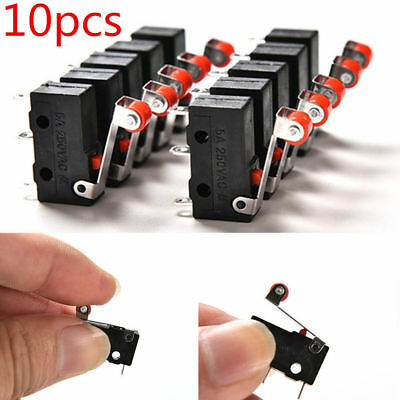 10Pcs Micro Roller Lever Arm Open Close Limit Switch Kw12-3 PCB Microswitch Hot!