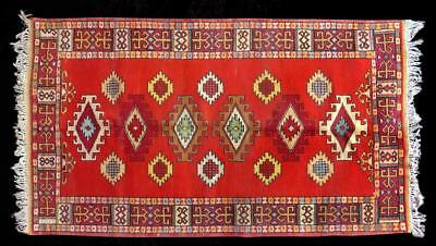 Vintage Uzbek Main Large Rug Carpet Wonderful Colors And Design A12330