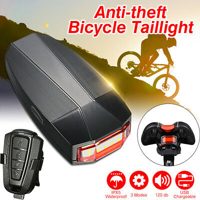 3 In 1 Bicycle Bike Lock Alarm LED Wireless Tail Light Anti-theft Remote Control